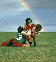 kids football with rainbow