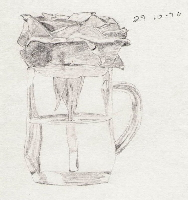 Drawing of Rose in a cup of water